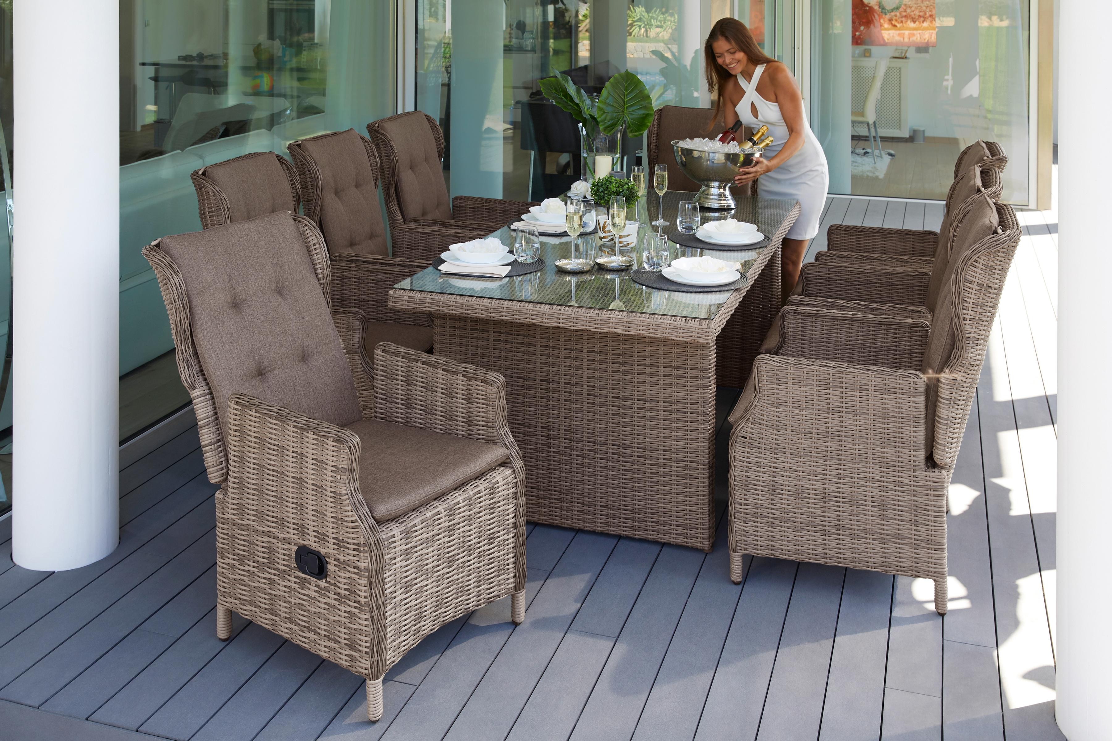 MERXX Gartenmöbelset Riviera 17-tlg 8 Sessel Tisch 200x100 cm Kunststoff/Stahl