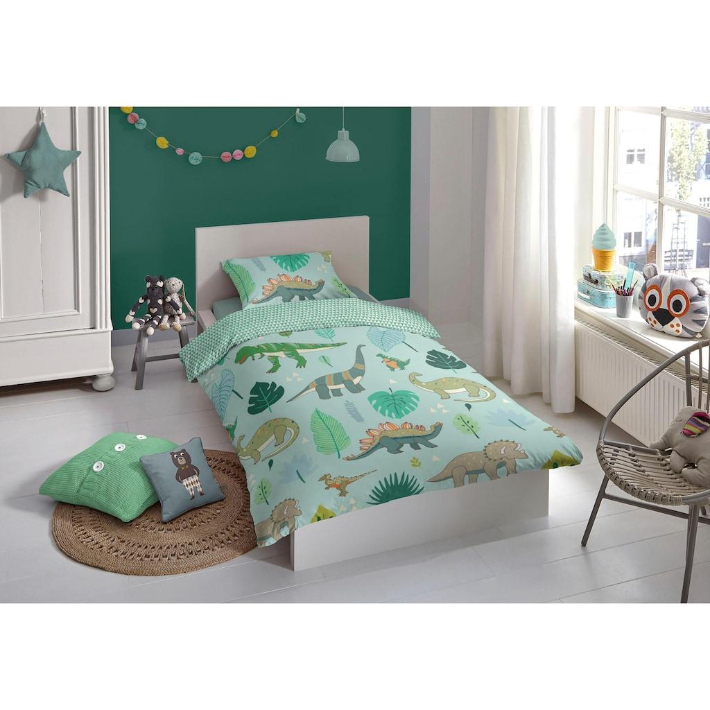 good morning Babybettwäsche »Dinono«, mit Dinos und Blättern
