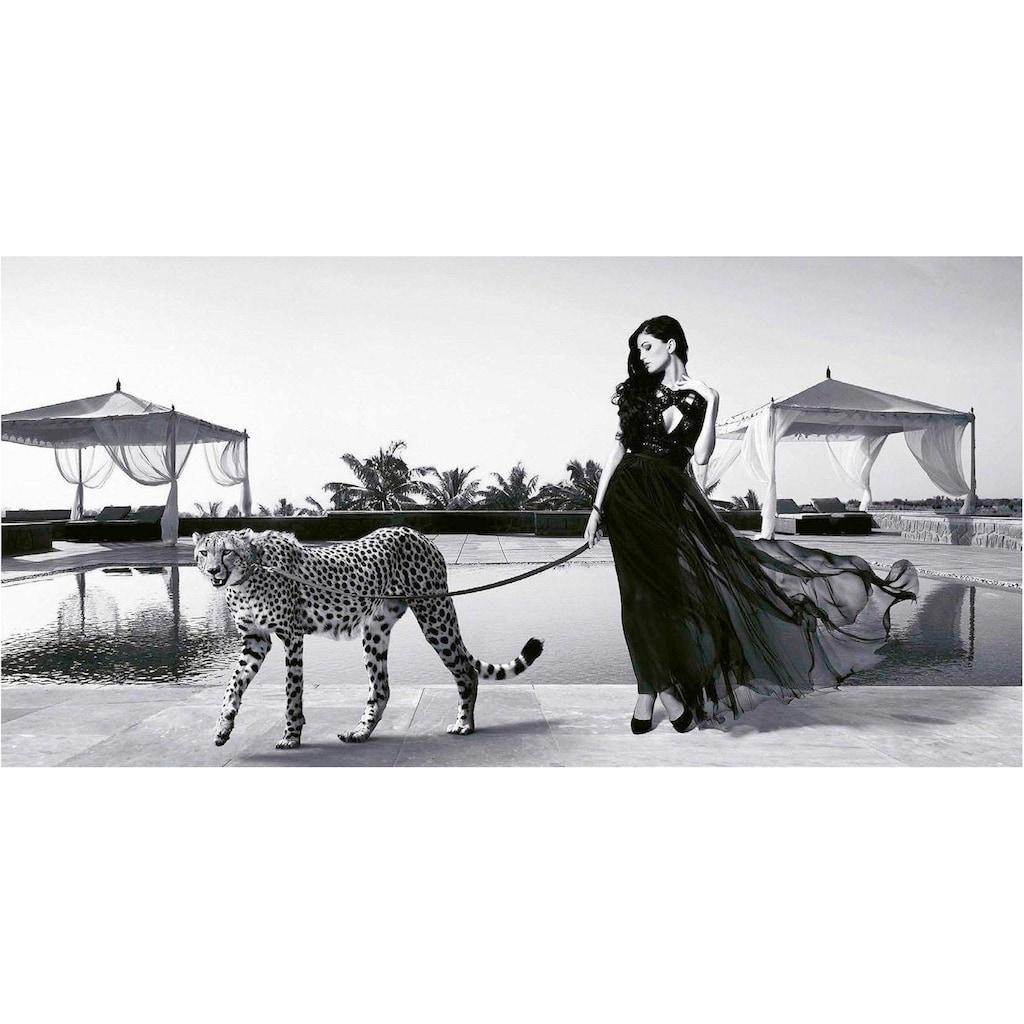 my home Deco-Panel »JULIAN LAUREN / Woman with Cheetah«, 100/50 cm
