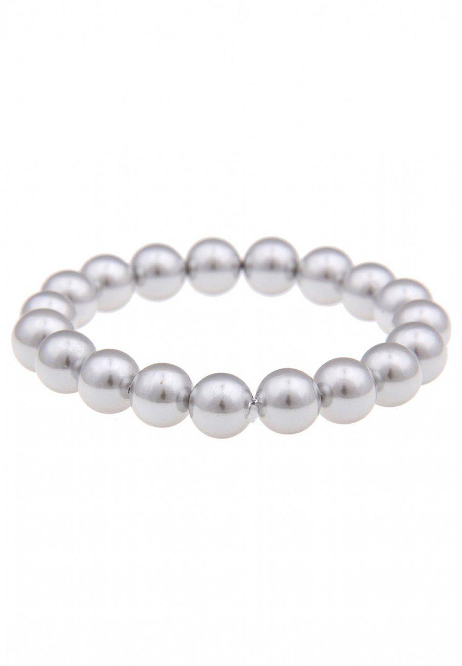 leslii Perlenarmband, mit mattem Glanz silberfarben Damen Perlenarmband Perlenarmbänder Armbänder Schmuck 4250980343277