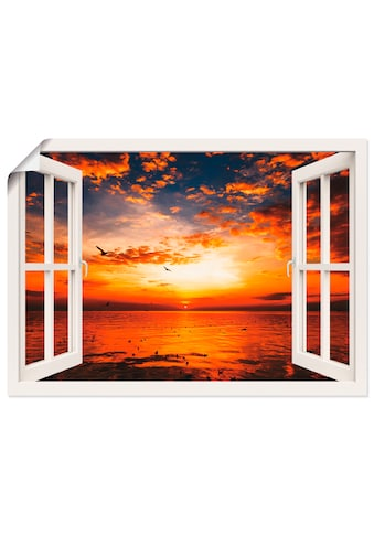 Artland Wandbild »Fensterblick Sonnenuntergang am Strand«, Fensterblick, (1 St.), in... kaufen