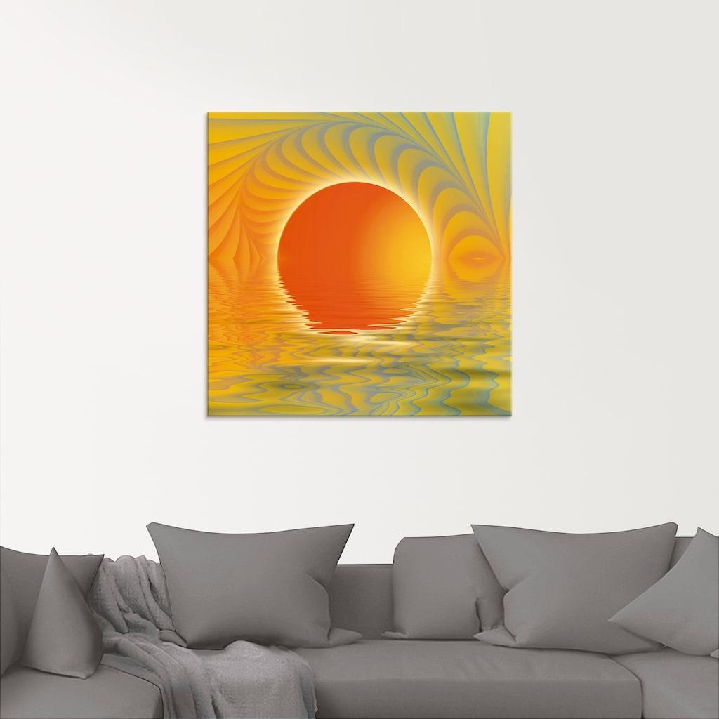 Artland Glasbild »Abstrakter Sonnenuntergang«, Muster, (1 St.)