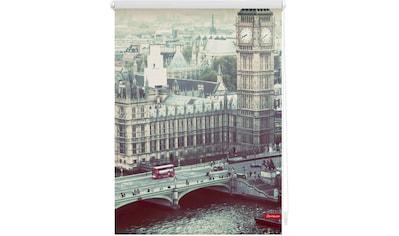 LICHTBLICK Seitenzugrollo »Rollo Klemmfix, ohne Bohren, Verdunkelung, London Westminster - Grau«, verdunkelnd, Verdunkelung, freihängend kaufen