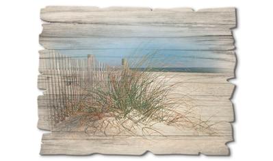 Artland Holzbild »Schöne Sanddüne mit Gräsern und Zaun«, Strand, (1 St.) kaufen
