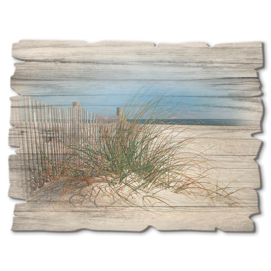 Artland Holzbild »Schöne Sanddüne mit Gräsern und Zaun«, Strand, (1 St.)