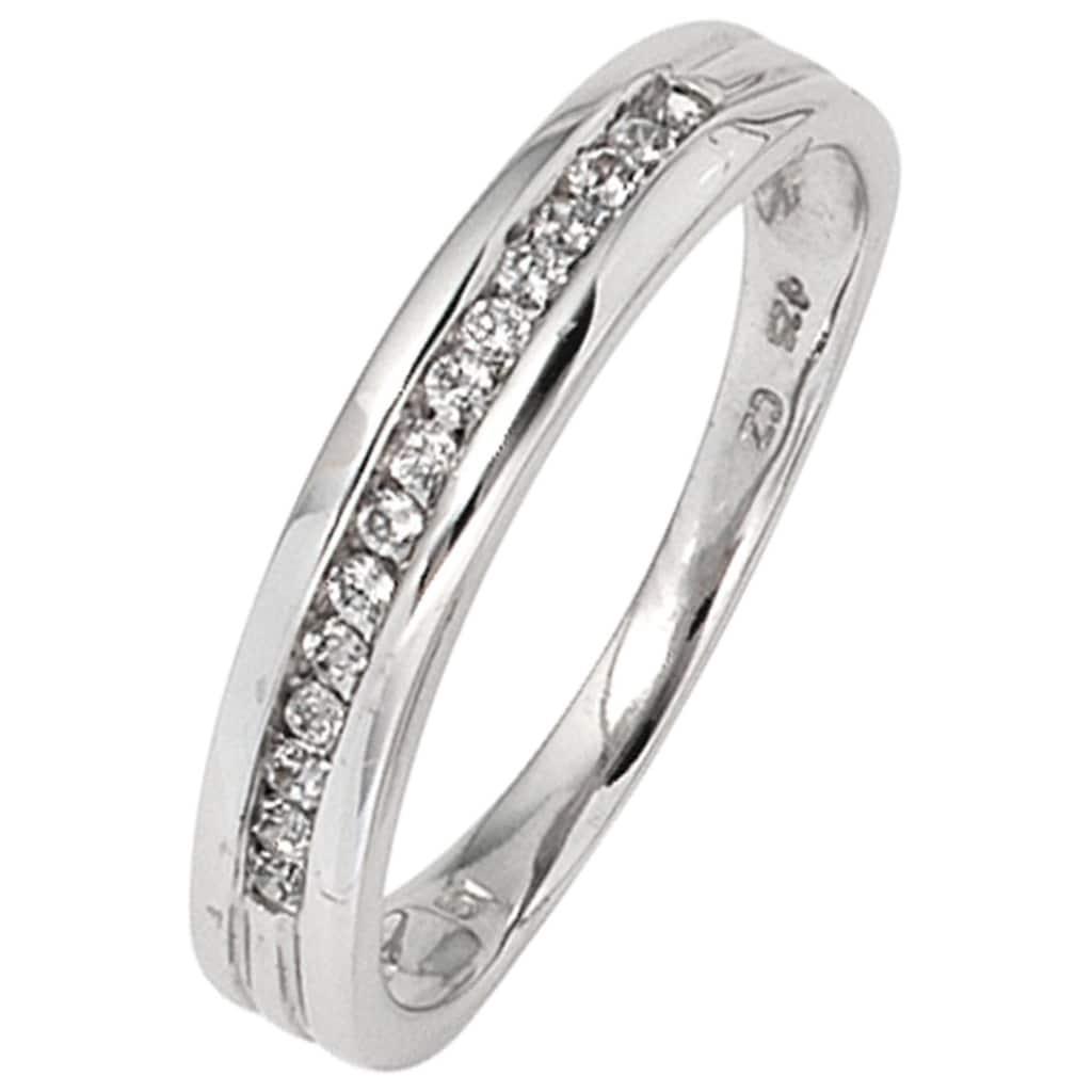 JOBO Diamantring, 585 Weißgold mit 15 Diamanten
