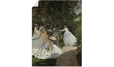 Artland Wandbild »Damen im Garten in Ville d'Avray. 1867«, Frau, (1 St.), in vielen Größen & Produktarten - Alubild / Outdoorbild für den Außenbereich, Leinwandbild, Poster, Wandaufkleber / Wandtattoo auch für Badezimmer geeignet kaufen