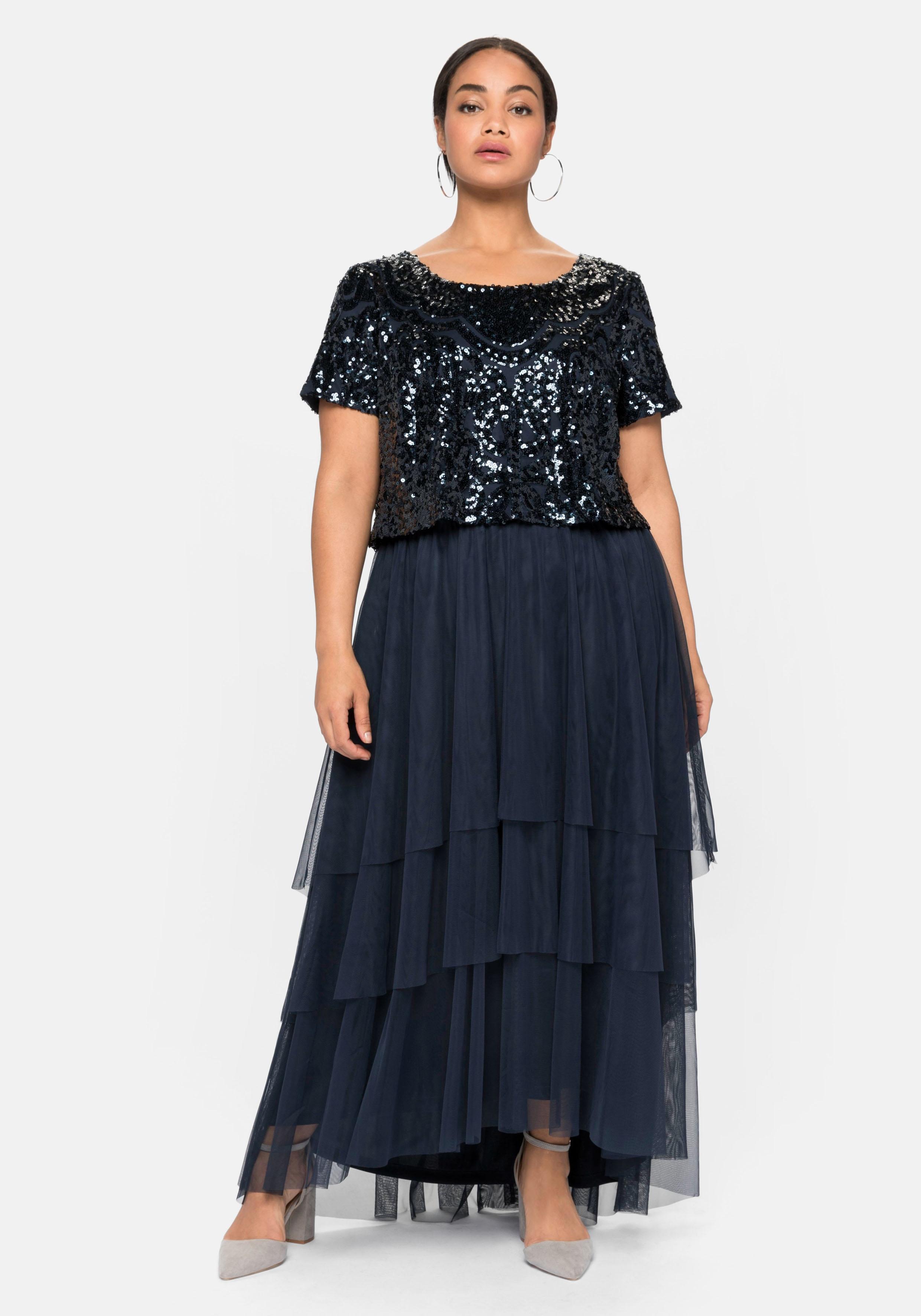 Sheego Abendkleid, mit lose fallendem Paillettenoberteil blau Damen Abendkleid Abendkleider Kleider