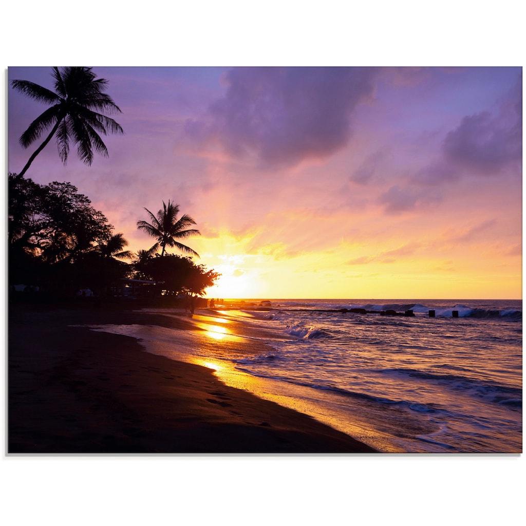 Artland Glasbild »Tropischer Strand«, Sonnenaufgang & -untergang, (1 St.)