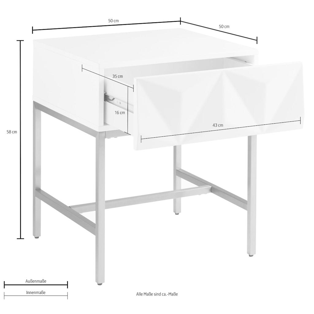 Leonique Beistelltisch »Minfi«, Schublade mit 3D-Front, auch als Nachttisch geeignet, Breite 50 cm