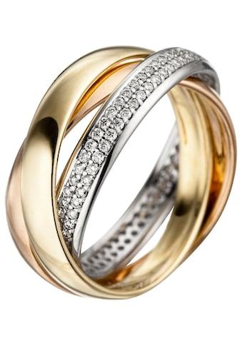 JOBO Diamantring, 585 Gold tricolor mit 122 Diamanten kaufen