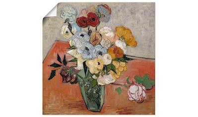 Artland Wandbild »Stilleben mit japanischer Vase, Rosen und Anemonen« kaufen