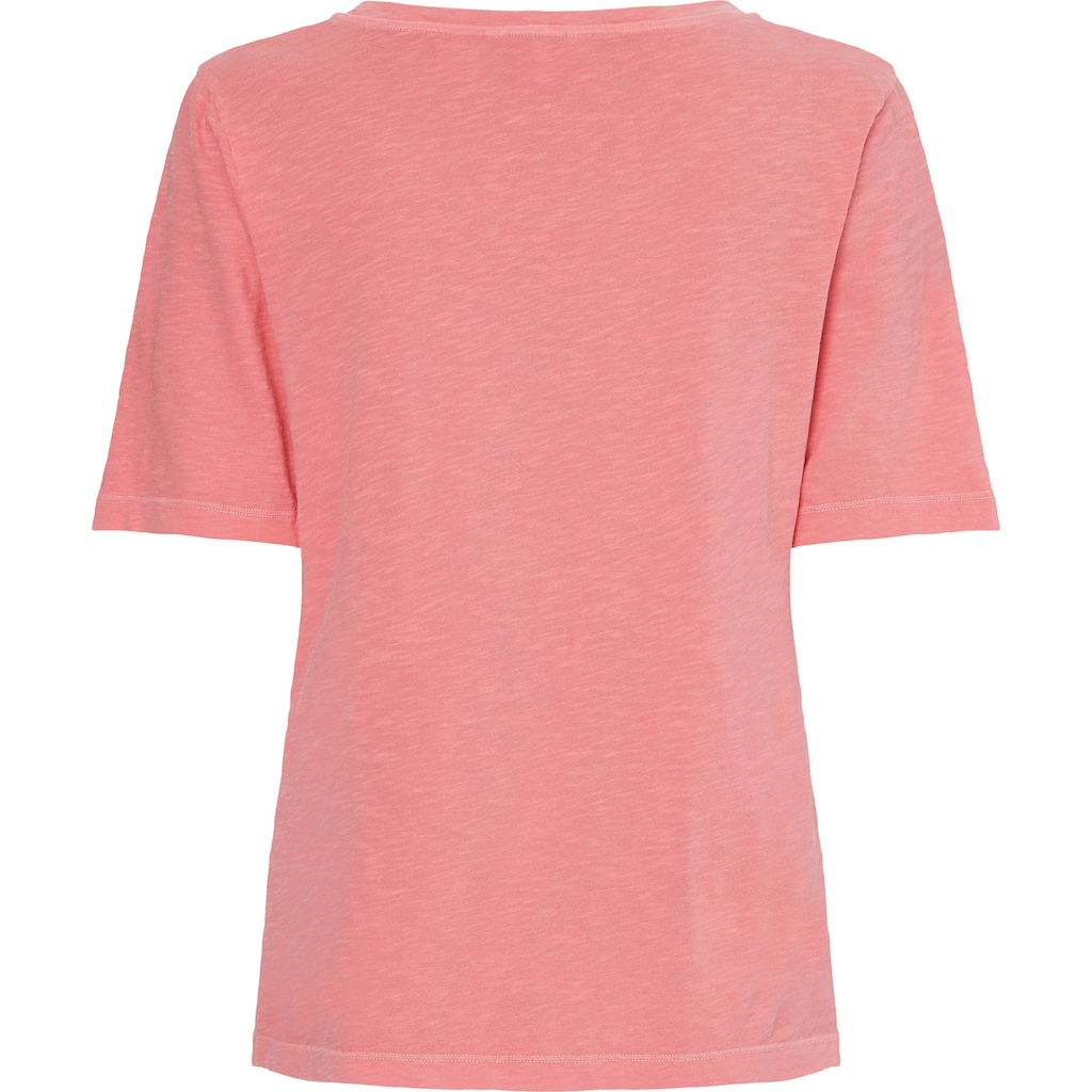 Tommy Hilfiger Rundhalsshirt »Relaxed ORG CO Open-Nk Top SS«, aus Flammgarn mit Tommy Hilfger Logo-Flag Ton in Ton
