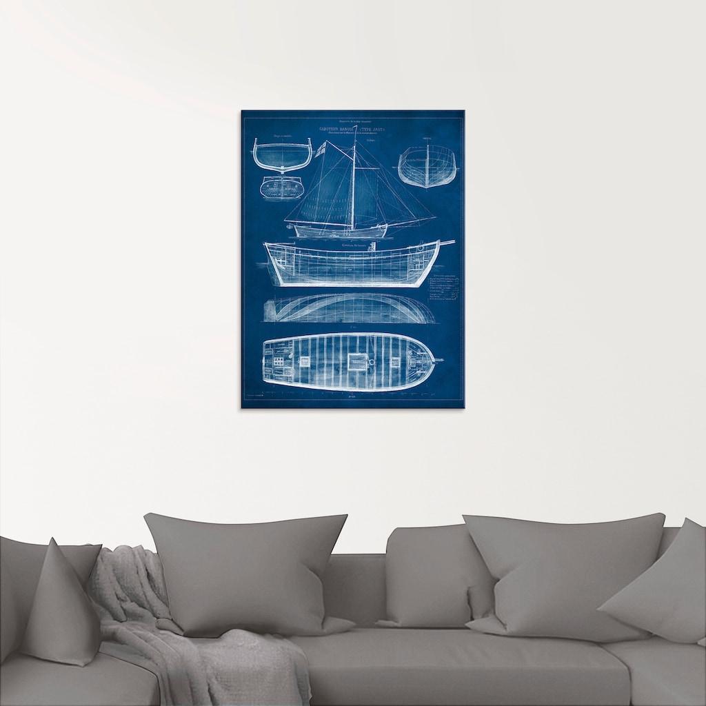Artland Glasbild »Entwurf für ein Antikes Schiff II«, Boote & Schiffe, (1 St.)