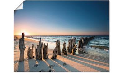 Artland Wandbild »Sonnenuntergang Strand Wellenbrecher«, Meer Bilder, (1 St.), in... kaufen
