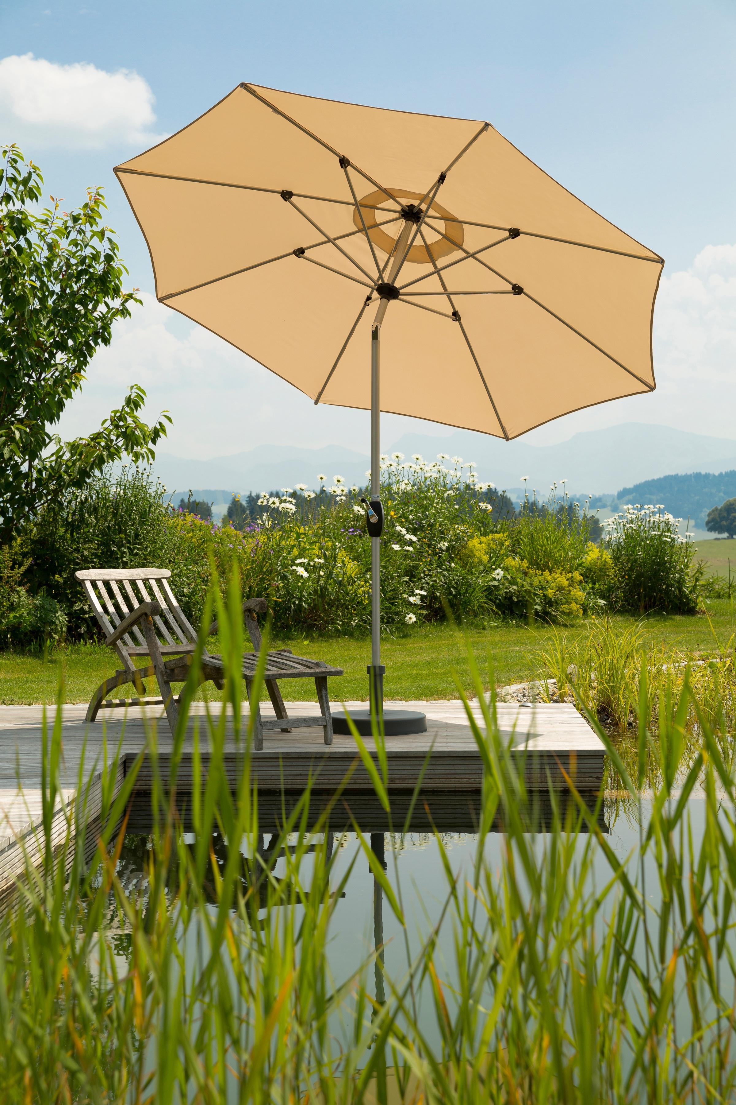 Schneider Schirme Sonnenschirm Venedig, ohne Schirmständer beige Sonnenschirme -segel Garten, Terrasse Balkon
