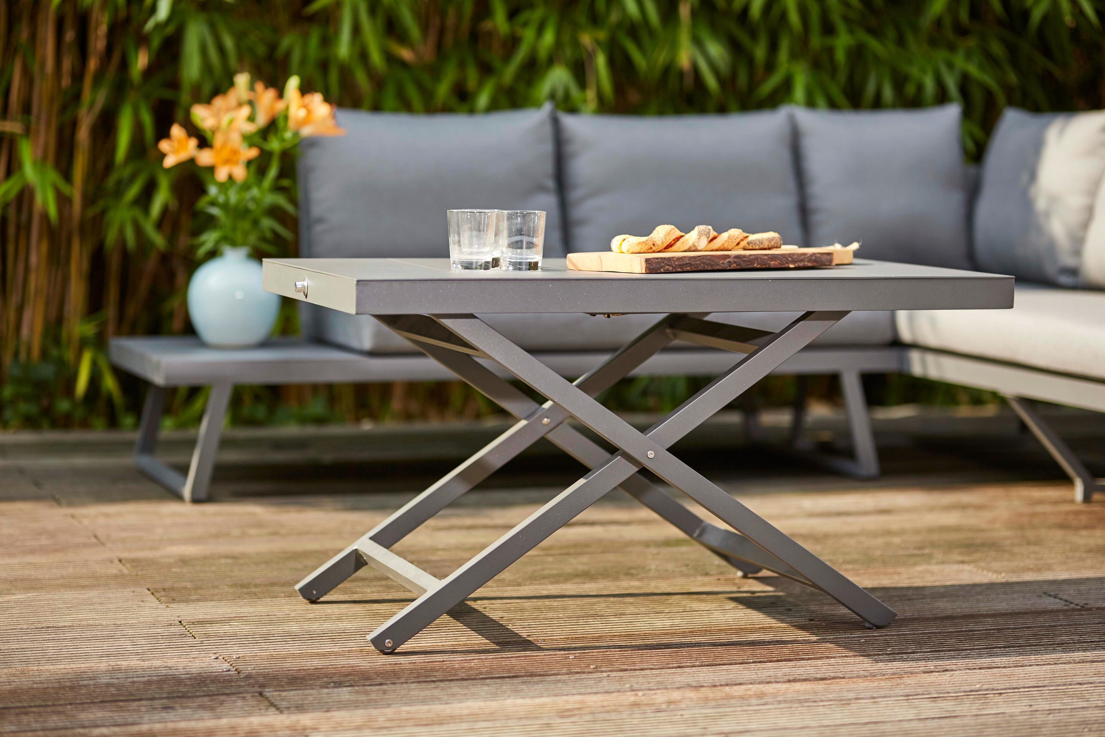 SIENA GARDEN Gartentisch Larina Aluminium stufenlos verstellbar 110x60 cm