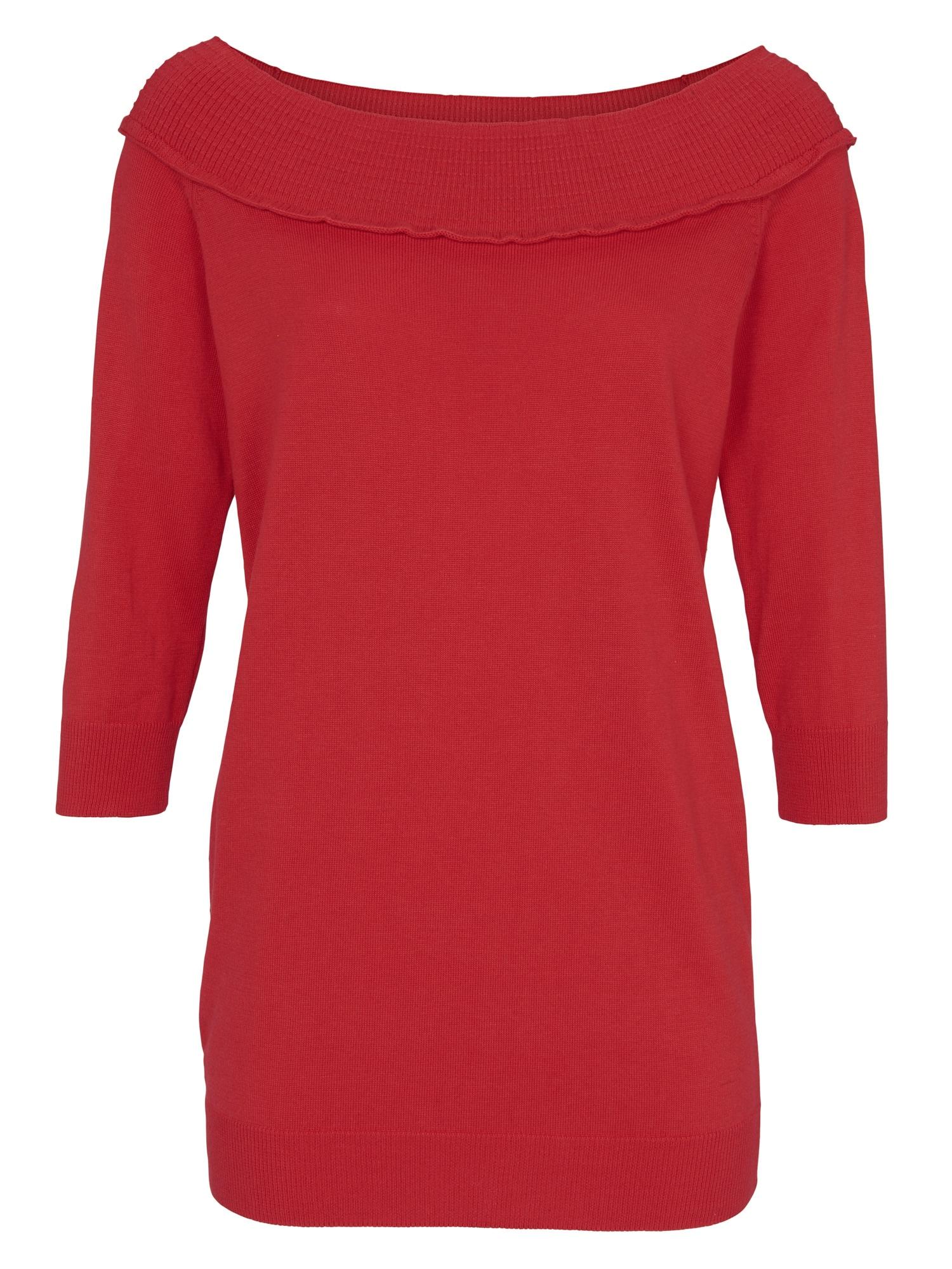 heine CASUAL Carmenpullover 3/4 Arm | Bekleidung > Pullover > Carmenpullover | Rot | Baumwolle | Heine Casual