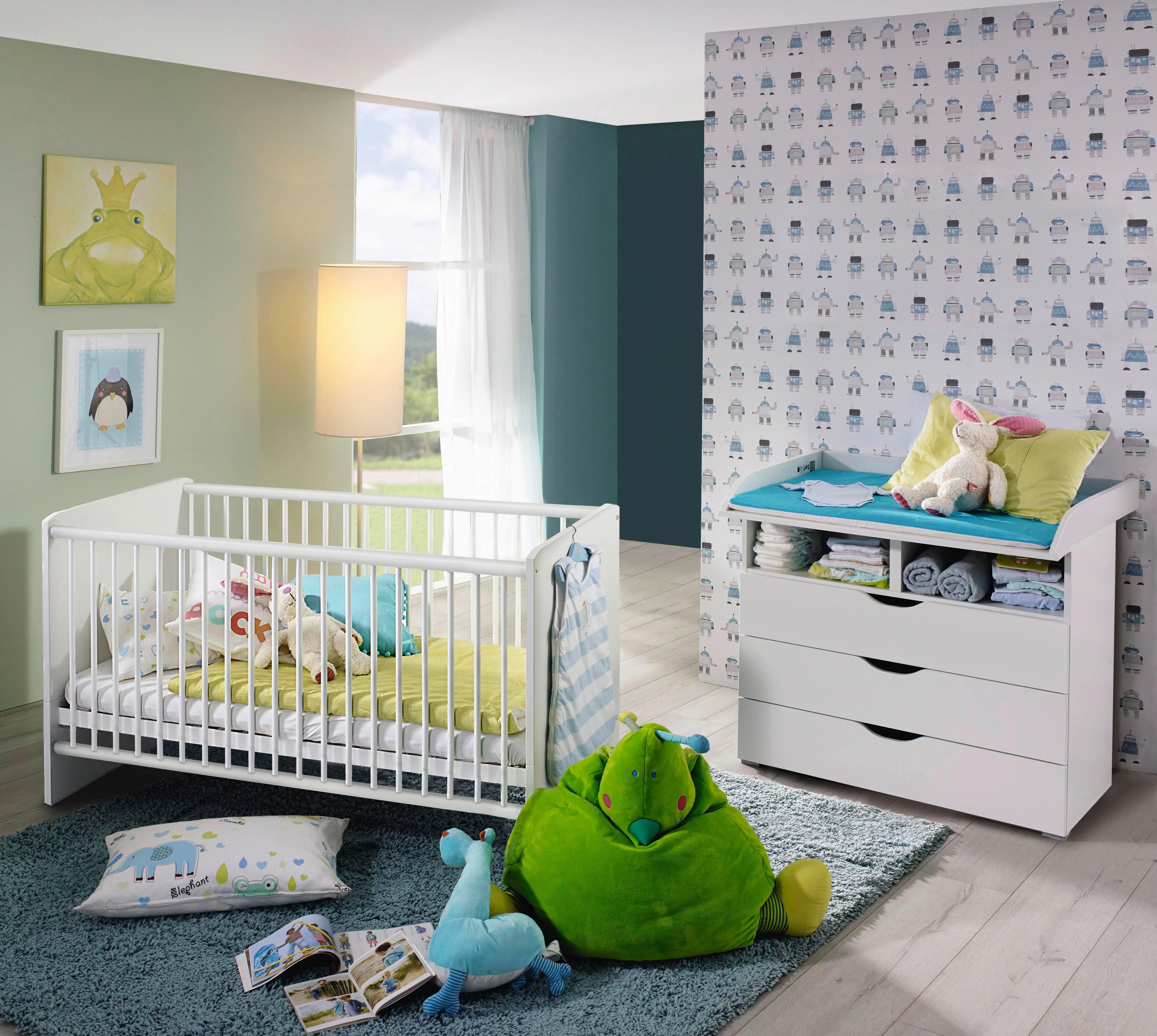 Babyzimmer Spar-Set »Bristol« Babybett + Wickelkommode, (2-tlg.) | Kinderzimmer > Babymöbel > Komplett-Babyzimmer | Weiß