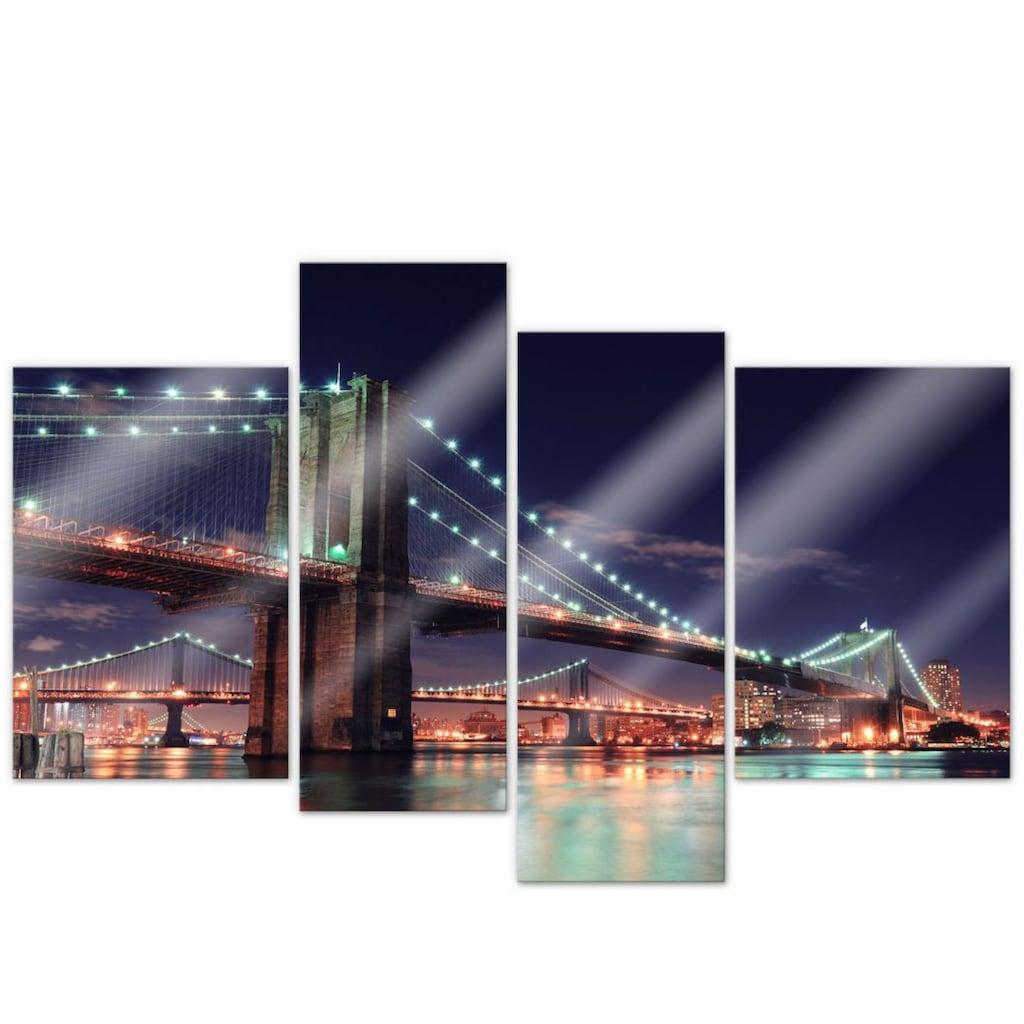Wall-Art Mehrteilige Bilder »Nacht in Manhattan (4-teilig)«, (Set, 4 St.)