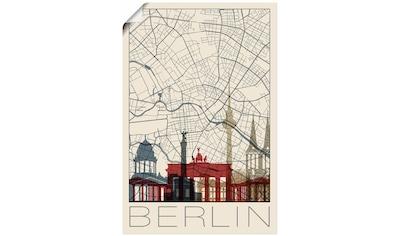 Artland Wandbild »Retro Karte Berlin«, Deutschland, (1 St.), in vielen Größen &... kaufen
