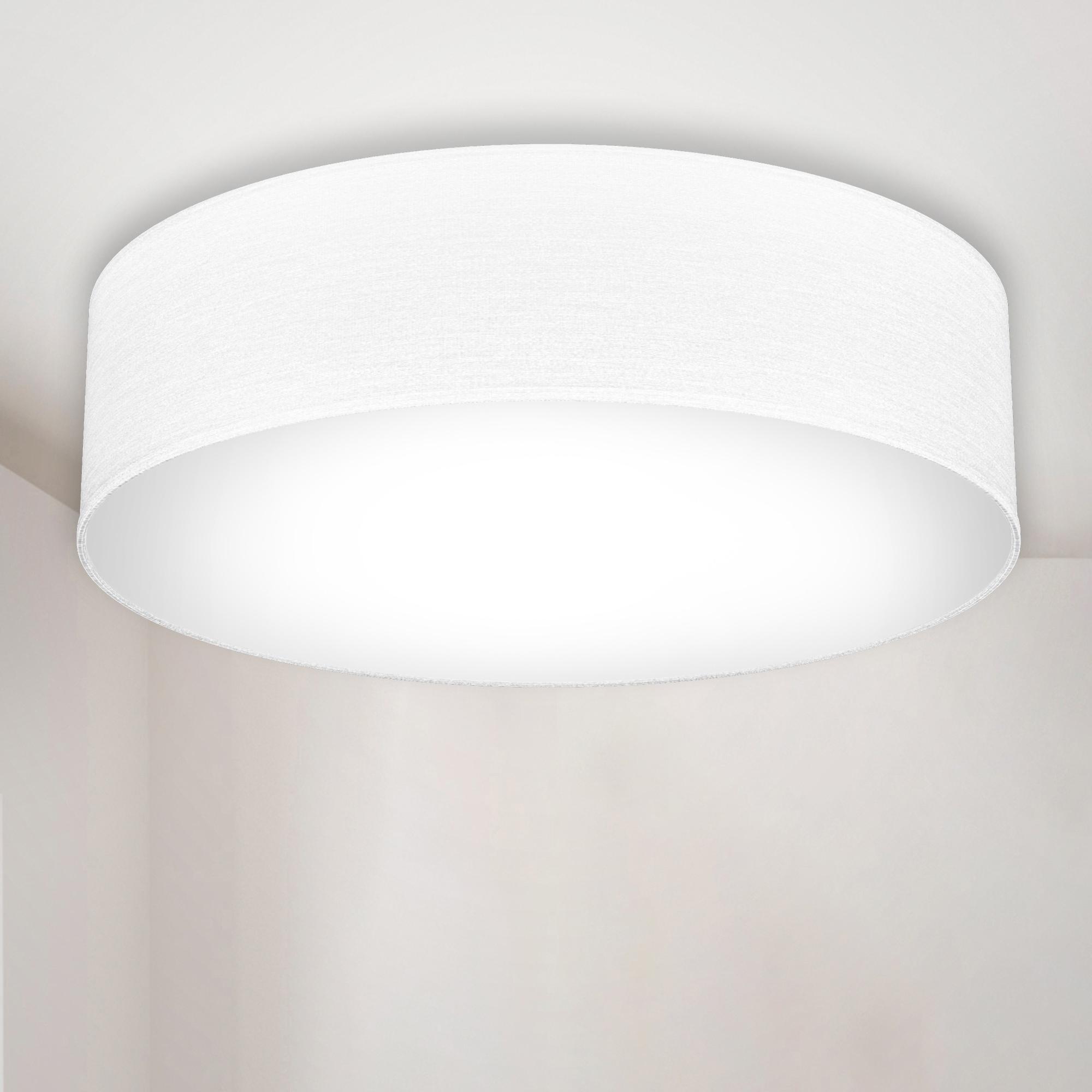 B.K.Licht LED Deckenleuchte, E27, Warmweiß, LED Deckenlampe Stoff Textil Lampenschirm Wohnzimmerlampe Schlafzimmer E27