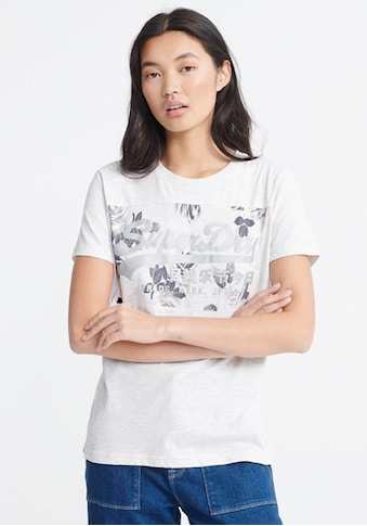 Superdry T-Shirt »VL ROSE PANEL ENTRY TEE«, mit glänzendem Logo kaufen