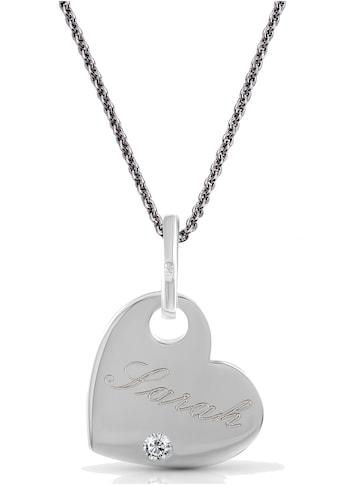 Firetti Kette mit Anhänger »Herz mit Gravur, zeitlos und klassisch«, mit Zirkonia kaufen