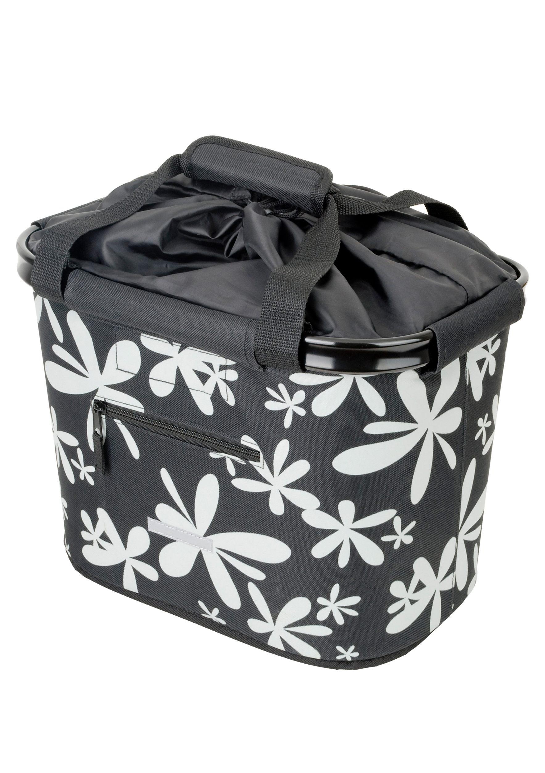 Blue Bird Fahrradtasche Shopping Bag Blume schwarz Fahrradtaschen Fahrradzubehör Fahrräder Zubehör Taschen
