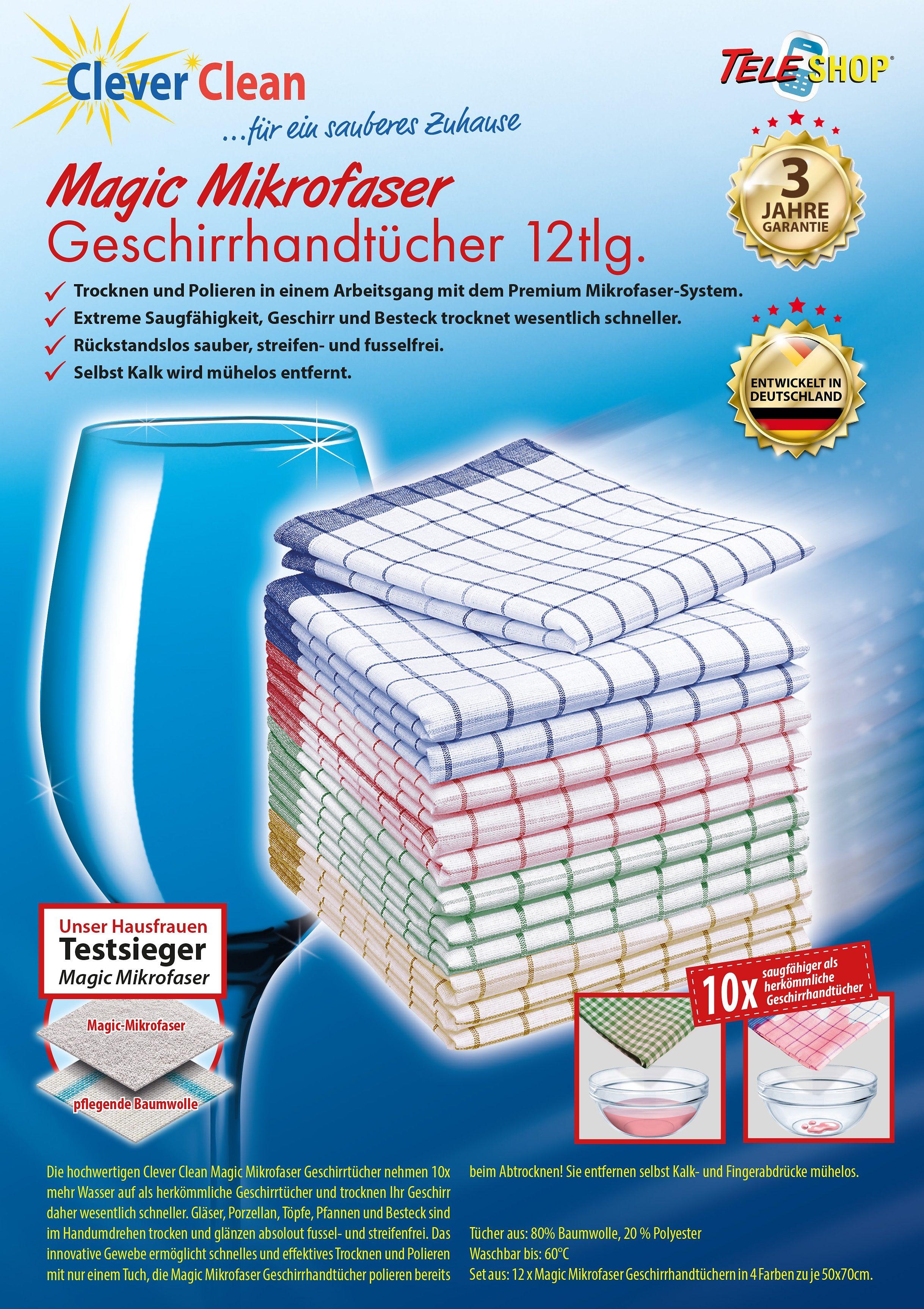 TELESHOP Geschirrtuch CleverCleanMagic Mikrofaser, (Set, 12 tlg.) bunt Geschirrtücher Küchenhelfer Haushaltswaren
