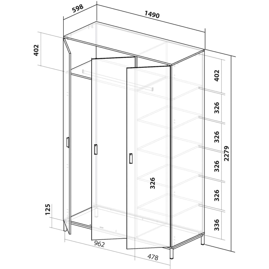 INOSIGN Drehtürenschrank »Aubetin«, 3-türig, 149cm breit