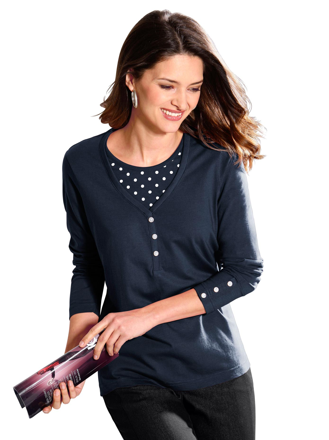 Classic Basics 2-in-1-Shirt im Tupfendessin | Bekleidung > Shirts > 2-in-1 Shirts | Blau | Classic Basics