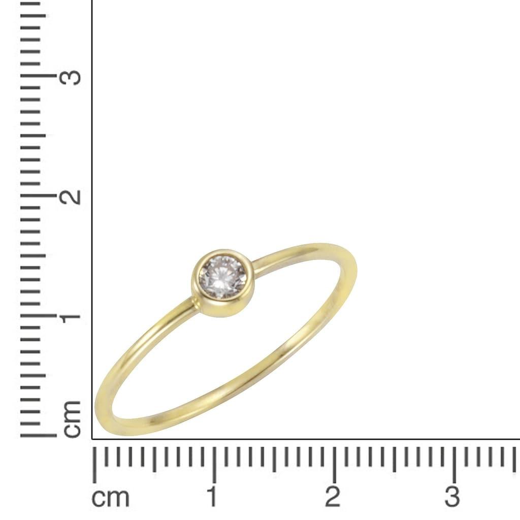 CELESTA Fingerring, Ring 375/- Gelbgold Zirkonia weiß