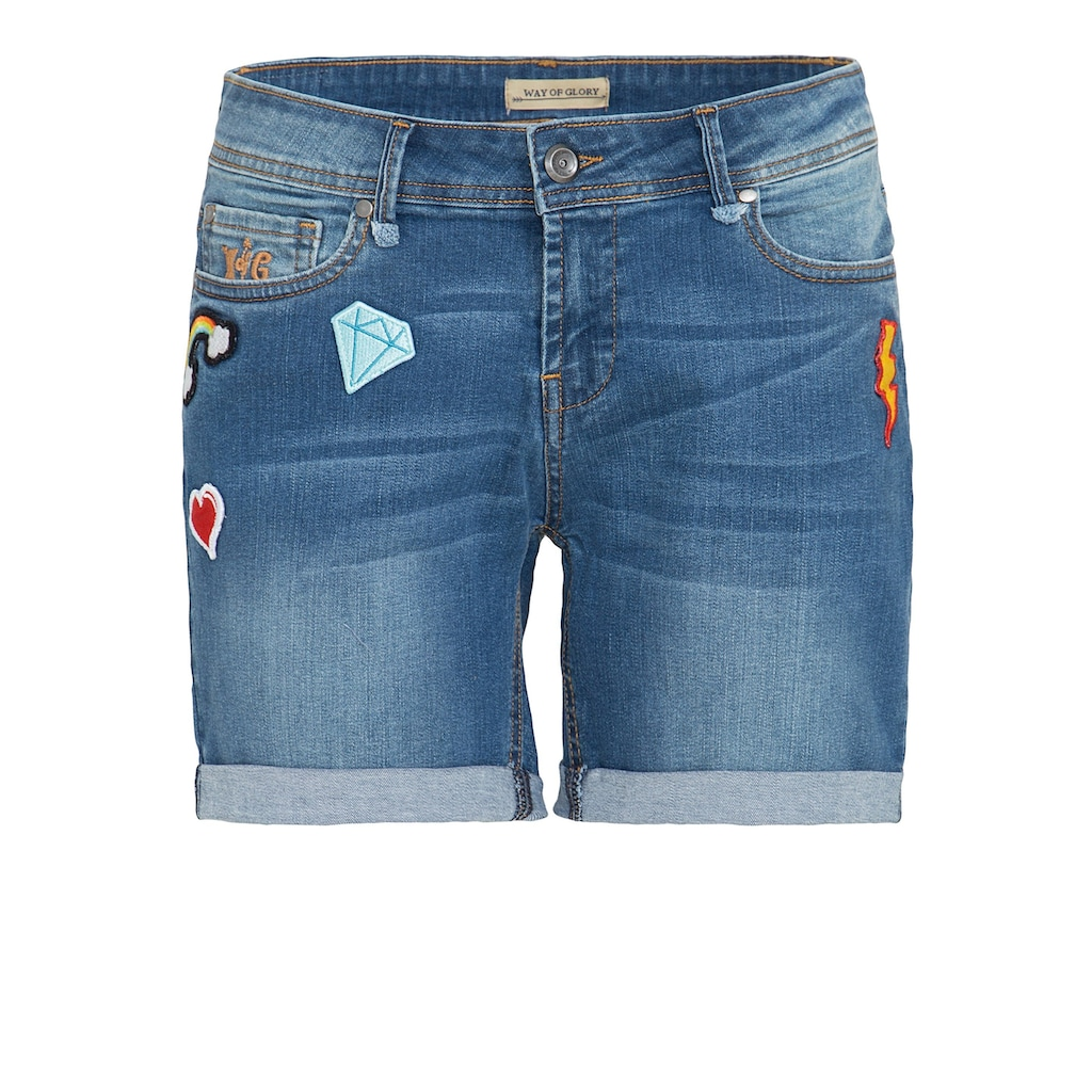 Way of Glory Jeansshorts, mit modischen Patches
