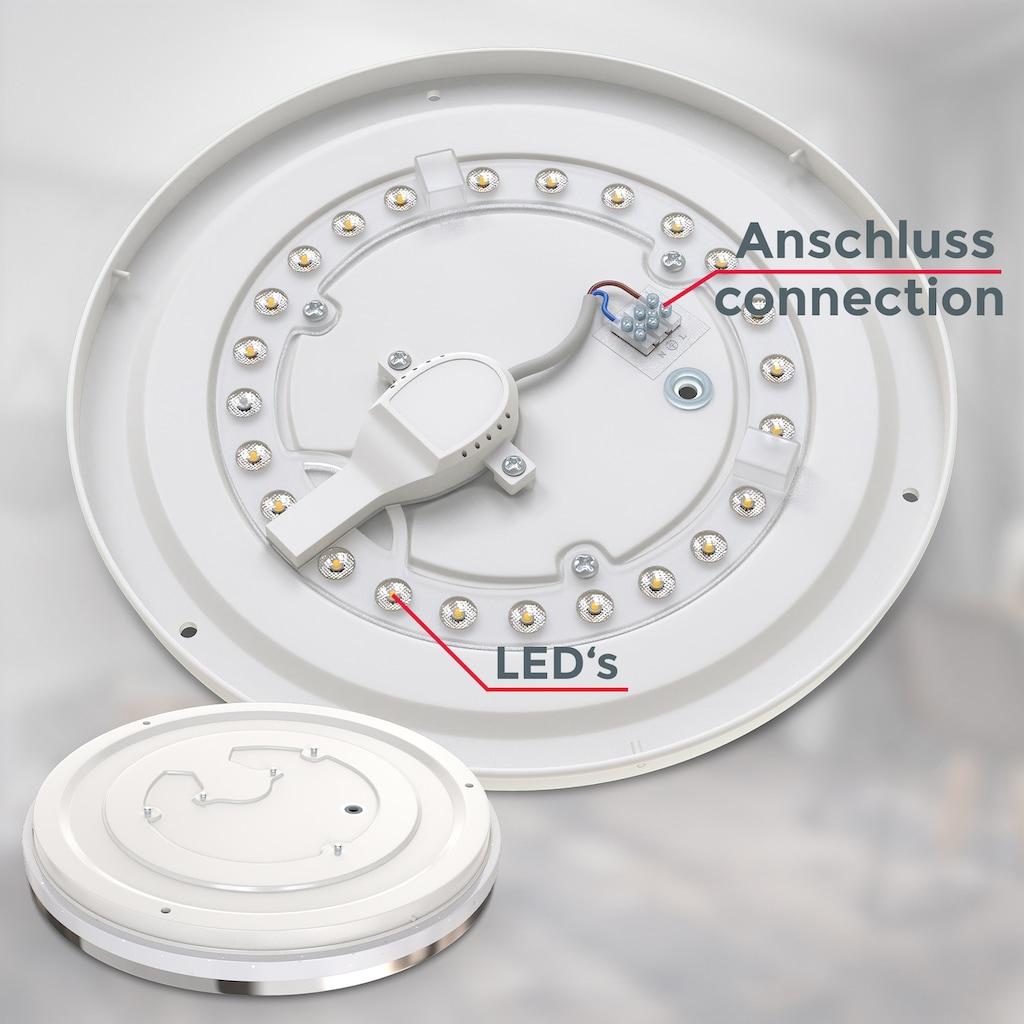 B.K.Licht LED Deckenleuchte, LED-Modul, Neutralweiß, LED Deckenlampe mit Sternendekor 10W LED 900lm neutralweiße Lichtfarbe 4000K Ø219mm chromfarben