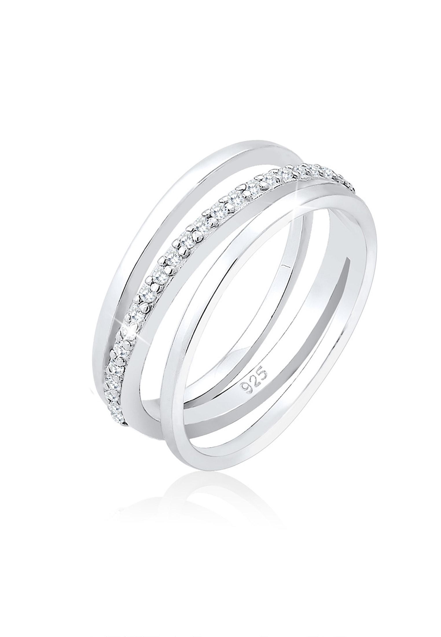Elli Fingerring Wickelring Band Kreuz Zirkonia Modisch 925 Silber | Schmuck > Ringe > Fingerringe | Elli