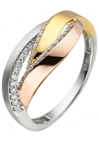 JOBO Fingerring, 585 Gold Tricolor mit 36 Diamanten kaufen