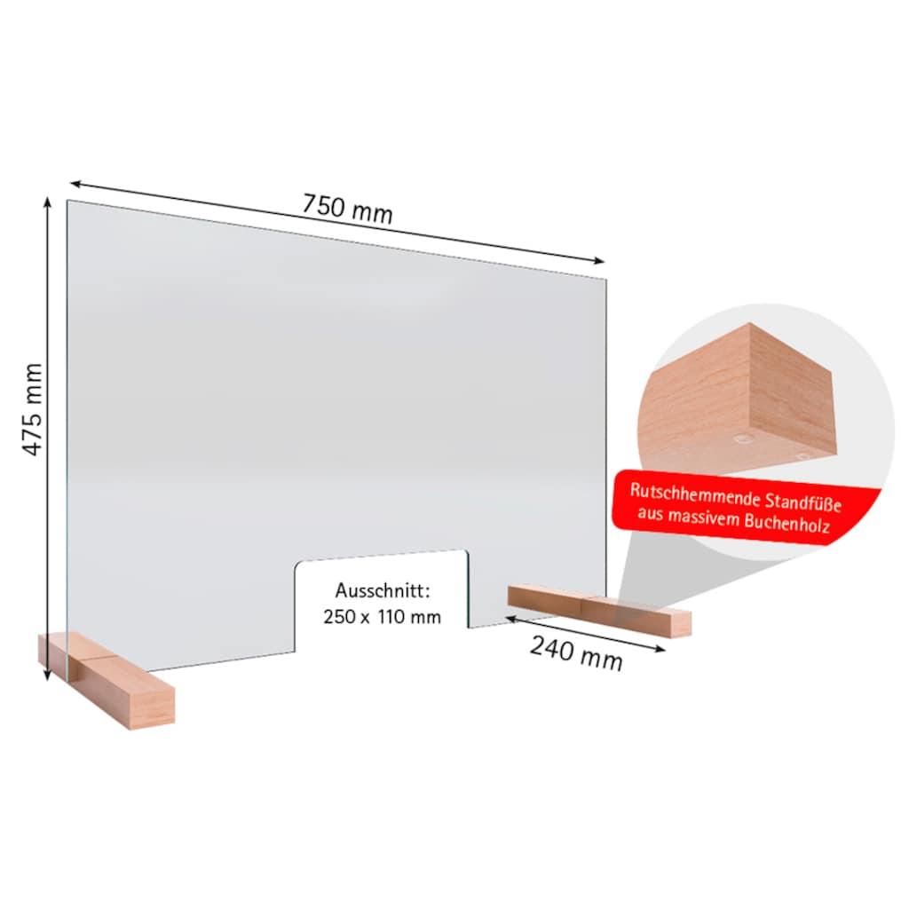 Schulte Stellwand »Glaswand«, Praktische Durchreiche von 250 x 110 mm, 5mm starkes Sicherheitsglas (ESG)