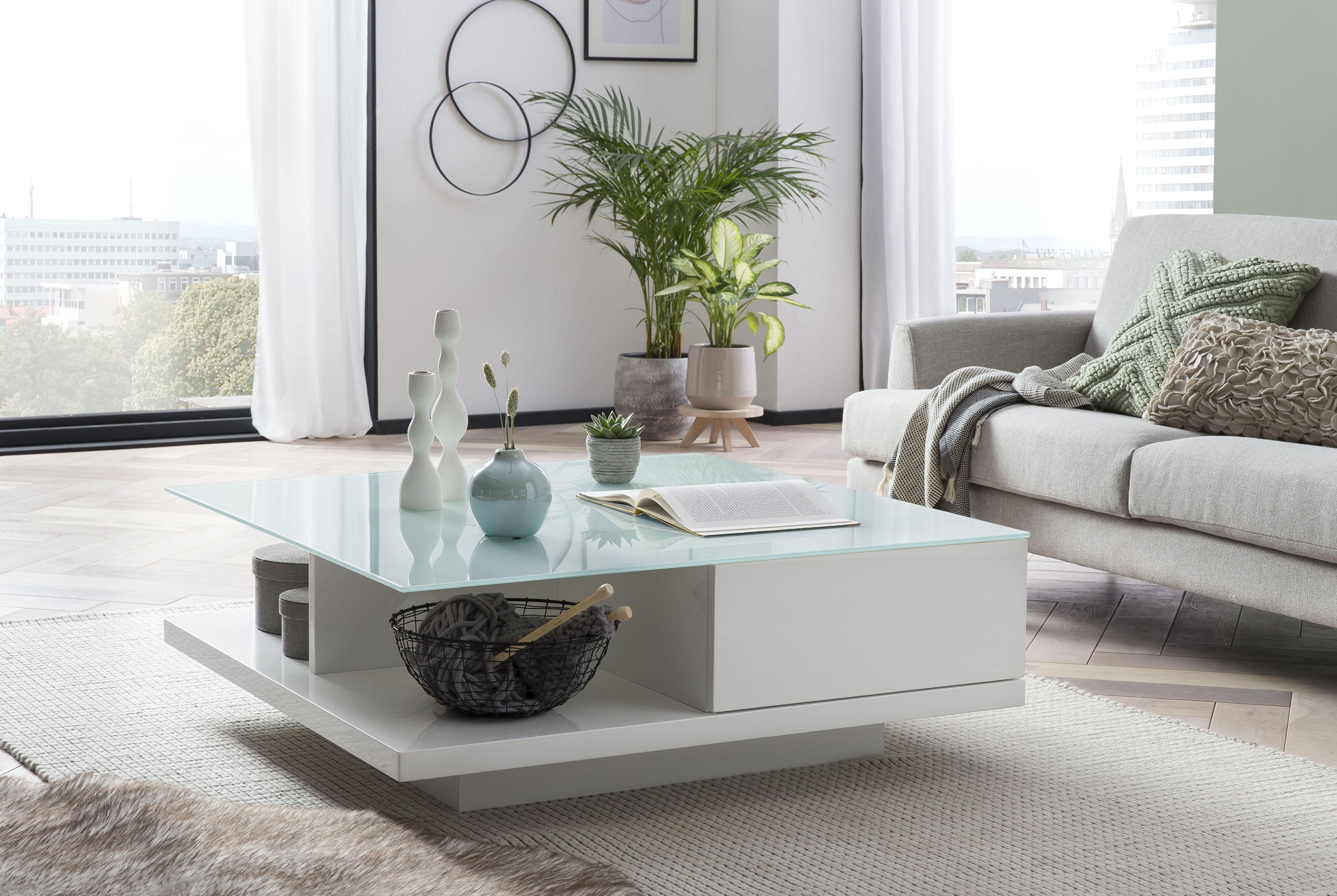 SalesFever Couchtisch, Tischplatte aus gehärtetem Kristallglas weiß Couchtische eckig Tische Couchtisch