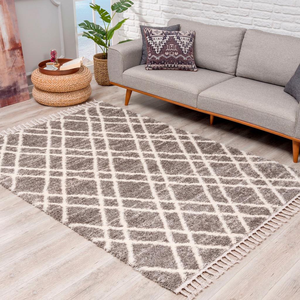 Carpet City Hochflor-Teppich »Pulpy 540«, rechteckig, 30 mm Höhe, mit Fransen, Wohnzimmer