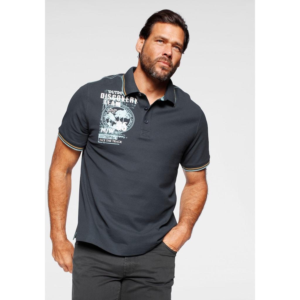 Man's World Poloshirt, Mit Print an der Schulter