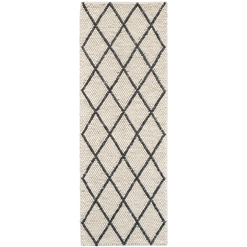 My HOME Läufer »Lior«, rechteckig, 10 mm Höhe, Nutzschicht aus Wolle, Rauten Design