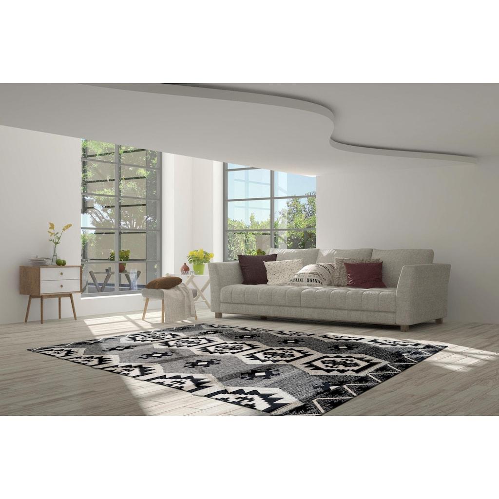 calo-deluxe Teppich »Kibo 1001«, rechteckig, 10 mm Höhe, Hoch-Tief-Struktur, Wohnzimmer