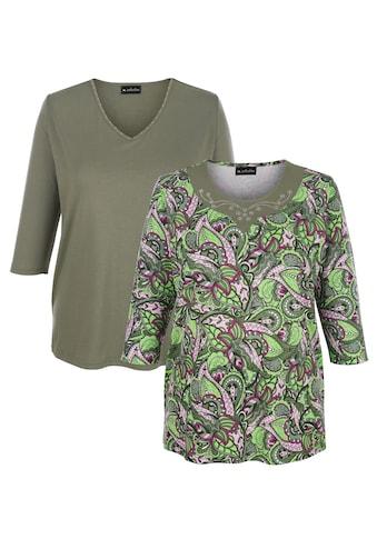 m. collection 3/4-Arm-Shirt, 1x mit Blätterdruck, 1x unifarben kaufen