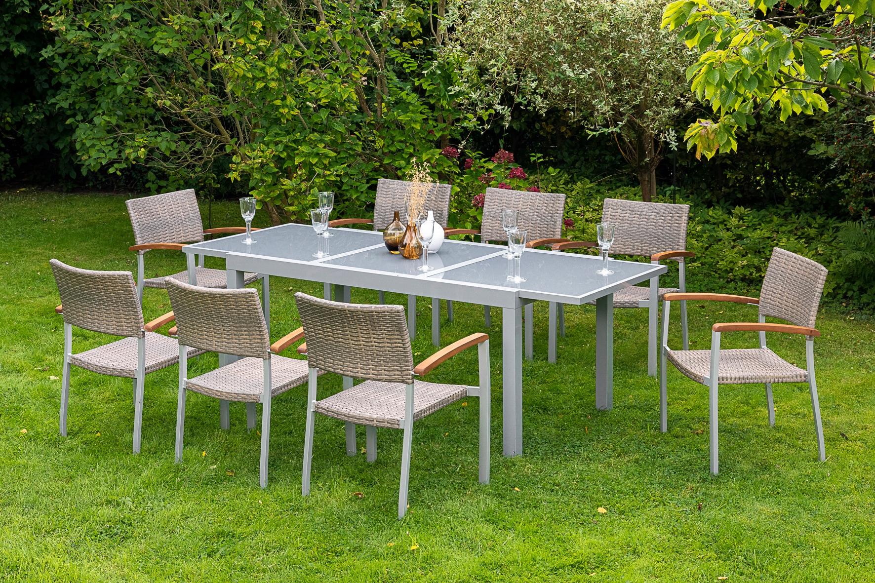 MERXX Diningset Silano 9-tlg 8 Sessel Tisch 90x160(220) cm
