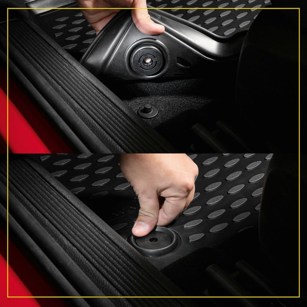 WALSER Passform-Fußmatten »XTR«, VW, Touran, Großr.lim., (6 St., 2 Vordermatten, 2 Matten mittlere Reihe, 2 Rückmatten), für VW Touran I, II, 7 Sitze BJ 2003 - 2010, 2010 - 2015