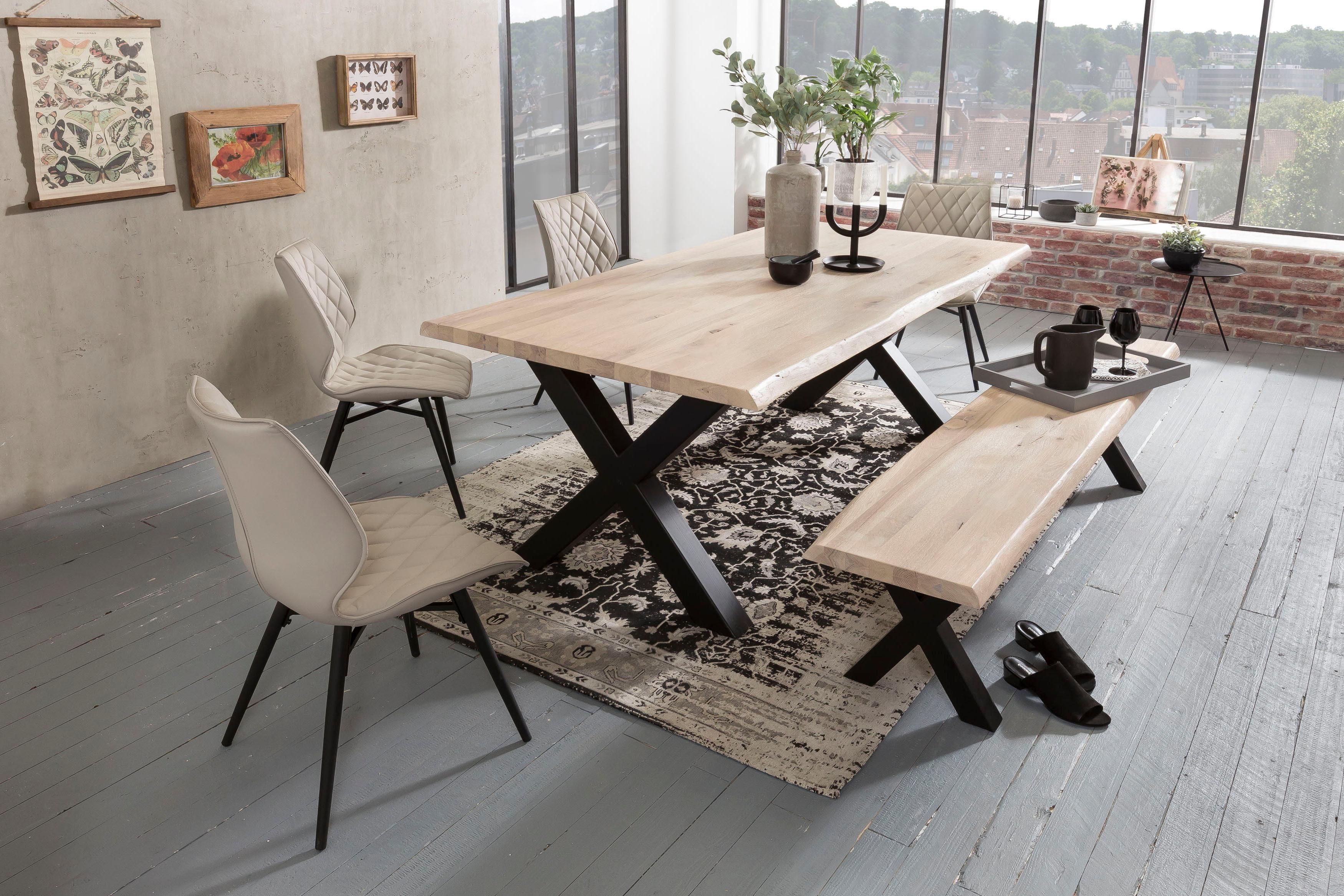 Home affaire Esstisch Tristan, mit Baumkante weiß Esstische rechteckig Tische