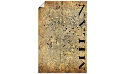 Artland Wandbild »Mailand Karte Straßen Karte Sepia«, Italien, (1 St.), in vielen Größen & Produktarten - Alubild / Outdoorbild für den Außenbereich, Leinwandbild, Poster, Wandaufkleber / Wandtattoo auch für Badezimmer geeignet kaufen