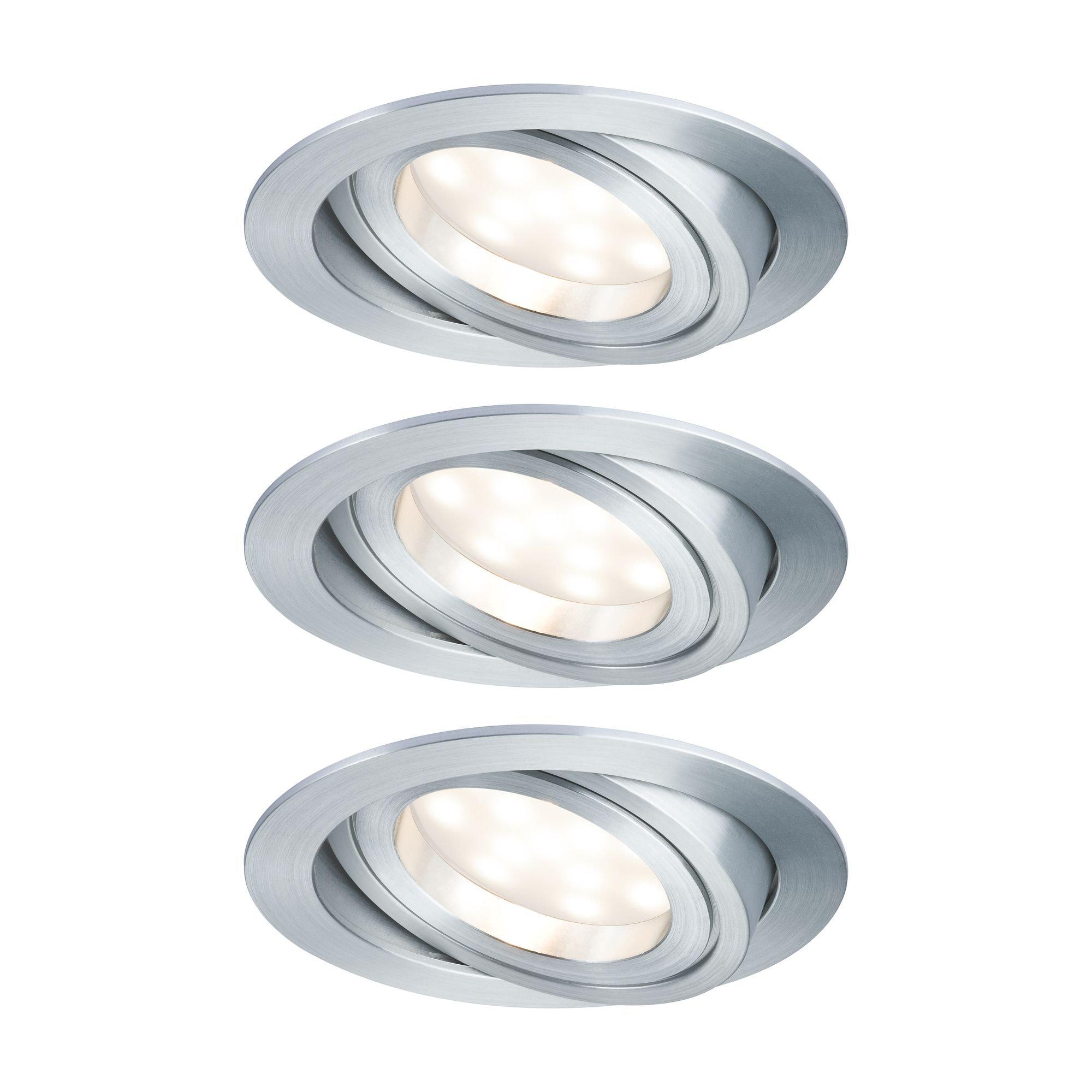 Paulmann LED Einbaustrahler 3er-Set Coin schwenkbar satiniert rund 6,8W Alu, 3 St., Warmweiß