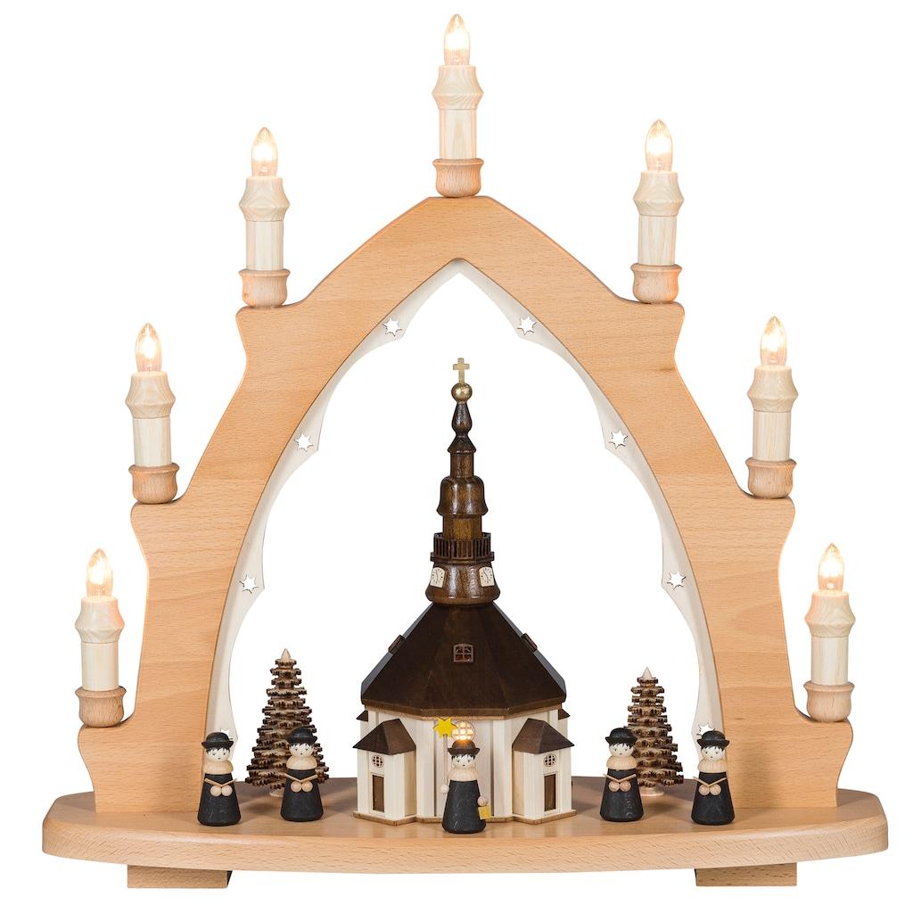 SAICO Original Dekobaum, Lichterspitze Seiffener Kirche, 8flammig elektrisch beleuchtet